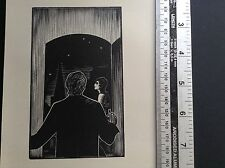 1930s Art Deco Woodcut print by Lynd Ward of man and woman