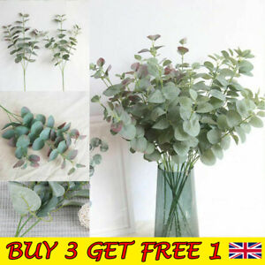 Artificial Fake Leaf Eucalyptus Green Plant Silk Flowers Indoor Home Decor UK