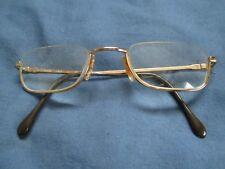Mens Vintage Slim Half frame Glasses - Gold Colour - Used - Frame made in Italy