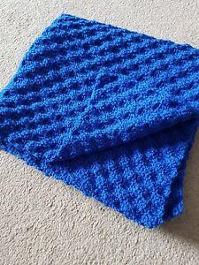 Handmade crochet blanket Royal blue Pram Or Car Seat Baby Gift, Baby Shower