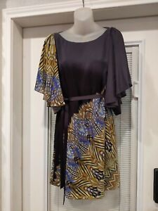 Single Brand Dress Ombre Black Gray Flowing Sleeve Sheath Dress M