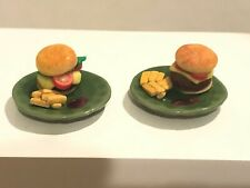 2 Plates HAMBURGERS & FRENCH FRIES Artisan Dollhouse Miniature 1:12 Signed
