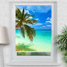 Foto-Rollo Strand und Palme Klemmfix Klemmrollo bedruckt Fensterrollo mit Motiv