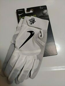 New Nike Adult Huarache Elite Baseball Batting Glove sz M L or XL White grey $65