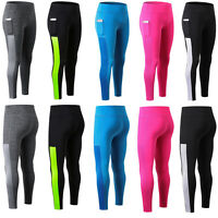 Womens Yoga Workout Gym Long Leggings with one Pocket Fitness Running Slim Fit