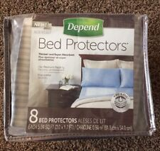 Depend Bed Protectors Overnight Absorbency 8 Count With Soft Comfortable - New