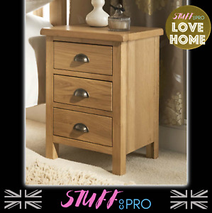 Oak 3 Drawer Bedside Table With Brushed Brass Handles Comes Fully Assembled