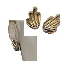 Boucles d'oreilles clip vintage en plaqué or 18 carats aile bijou