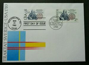 [SJ] USA Sweden Joint Issue 200 Years Of Friendship Peace 1983 (joint FDC)