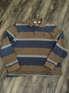 2XL Timberland Rugby Long Sleeve Polo Shirt Men XXL Embroidered Logo Striped
