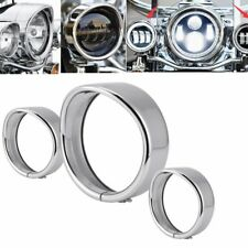 "7"" Headlight 4.5"" Passing Lights Lamp Decorate Trim Ring Visor Cover for Harley"