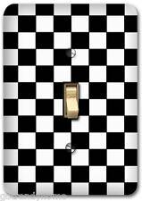 Checkered Flag Black White Metal Single Light Switch Plate Cover Home Decor 285