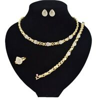 "#4 hugs & kisses necklace with bracelet 18"" Xo earrings (ring size 9) 18k style"