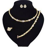 "#4 hugs & kisses necklace with bracelet 18"" Xo earrings (ring size 9) 18k style"