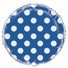 "Balloon 18"" White Polka Dots on Blue Mylar Party Decoration Gifts Baby Shower"