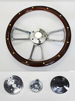 """57 Mercury Mahogany with rivets grip and Billet Steering Wheel 14"""" polished cap"""