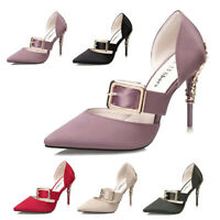 Women Luxury Pointy Toe Pumps Sandals High Heels Wedding Bridal Party Prom Shoes