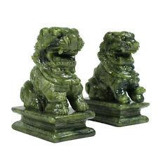 1 Pair China Green Jade Carved Fengshui Foo Fu Dog Guard Door Lion Office Decor