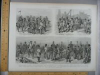 Rare Antique Orig VTG 1850s Kriegswesen Military War Soldier Engraving Art Print