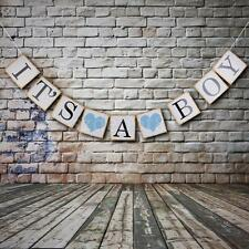Blue It's a Boy Bunting Banner Garland Baby Shower Party Decor Photo Props