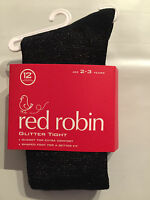BNWT Red Robin Brand Girls Age 2-3 Years Cute Glitter Black Footed Style Tights