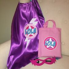 GIRLS SUPERHERO KIT SET - PERSONALISED CAPE & MASK IN PINK COTTON BAG GREAT GIFT