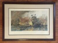 Antique Naval Maritime Nautical Etching Sir Francis Drake vs Spanish Armada 1882