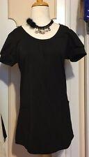 TopShop SHORT SLEEVE SHIFT DRESS/TUNIC W/ POCKETS~SIZE 10/ EUR 38 ~BLACK SHIMMER