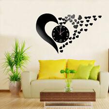 DIY Wall Clock Sticker Love Heart Shaped 3D Mirror Surface Home Room Decor