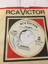 Lou Monte Signed 45 Seventeen & Oh I Miss You Tonight