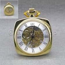 """Winding with 14"""" Link Chain P16 Mechanical Gold Skeleton Pocket Watch Men Square"""