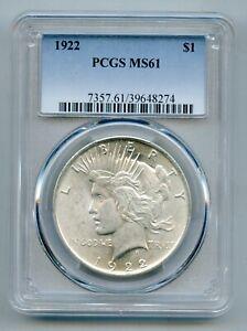 1922 Peace Silver Dollar PCGS MS 61