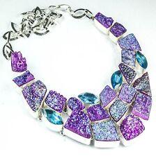 "Handmade Cluster Titanium Druzy Quartz 925 Sterling Silver Necklace 17"" #H00021"