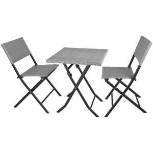 3PC Bistro Set Rattan Furniture Garden Folding Chair Table Grey Outdoor Wicker