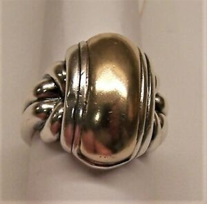 JAMES AVERY STERLING SILVER & 14K GOLD DOMED RING SIZE 7.5