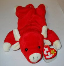 """TY BEANIE BABY 9"""" SNORT THE RED BULL W/TAG ERRORS, STYLE 4002 """"1995"""" CLEAN!"""