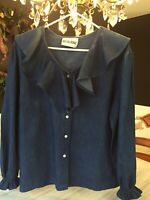 Vintage Cotton Denim Chambray Ruffle Western Rodeo L/S Top USA Med Large X-Large