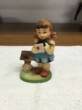 Hummel Copy Heavy Plastic Girl At Mailbox Figurine