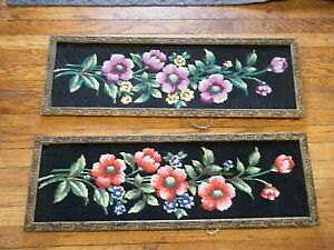"Pair 33"" Long Vintage 1950s Framed Floral Needlepoint Embroideries Black Ground"