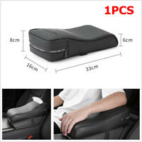 1x Memory Foam Car Armrest Cover Consoles Tissue Storage Pillow Cushion PU Black