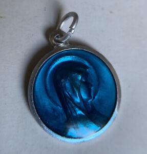 Vintage Religious Catholic Medal Mary Lady of Lourdes Blue Virgin Mary, 2 sided