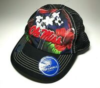 Ole Miss Rebels Hat University of Mississippi NCAA Black Mesh Cap Hawaii Flowers