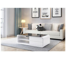 White Coffee Table High Gloss with 2 Drawers for Storage for Living Room Modern
