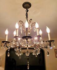 Vtg Art Deco Elegant Ornate 10 Arm French Brass Metal Crystal Prism Chandelier