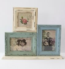 Triple Standing Photo Frame Shabby Chic Blue Green Cream 40x33cm Delilah Range