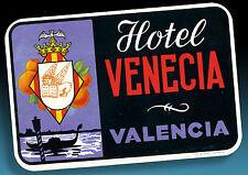 ALTER KOFFERAUFKLEBER | LUGGAGE LABEL 40er HOTEL VENECIA VALENCIA | SPANIEN