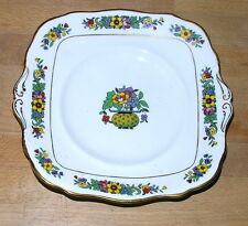 "Paragon Bone China 9"" Square Cake Plate - gold trim with stylised flowers"