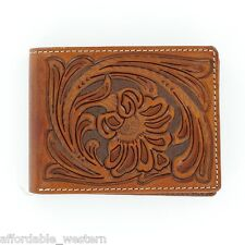 BROWN Tooled Leather ~Nocona® Bi-fold WALLET ~ Floral Tooling N5490608