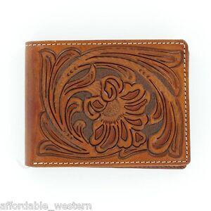 BROWN Tooled Leather ~Nocona Bi-fold WALLET ~ Floral Tooling N5490608