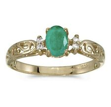 Natural Emerald and Diamond Victorian Style Band 10K Yellow Gold Ring